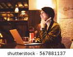 attractive business woman is... | Shutterstock . vector #567881137