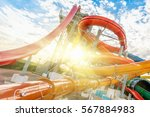 colourful plastic slides in... | Shutterstock . vector #567884983