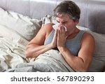 sick man in bed | Shutterstock . vector #567890293