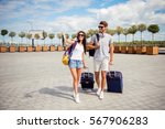 two smiling young  lovers with... | Shutterstock . vector #567906283