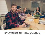 young workers gathering in the... | Shutterstock . vector #567906877