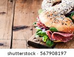 bagels with salami and onion on ...