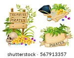 wooden sign with leaves and... | Shutterstock .eps vector #567913357
