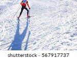 nordic ski skier on the track... | Shutterstock . vector #567917737
