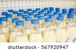 Many Plastic Bottles With Milk...