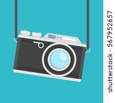 Retro Camera In Flat Style On ...