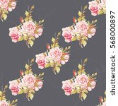 seamless floral pattern with... | Shutterstock .eps vector #568000897