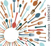 assorted cutlery icons emblem ... | Shutterstock .eps vector #568043617