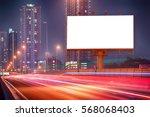 blank billboard with light... | Shutterstock . vector #568068403