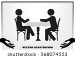 people at the table  interior... | Shutterstock .eps vector #568074553