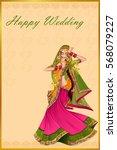 vector design of indian woman... | Shutterstock .eps vector #568079227