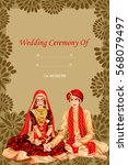 vector design of indian couple... | Shutterstock .eps vector #568079497