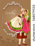 vector design of indian couple... | Shutterstock .eps vector #568079533