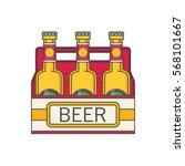 pack of beer bottles flat style ... | Shutterstock .eps vector #568101667