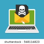 laptop with envelope and skull... | Shutterstock .eps vector #568116823