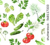 vegetable seamless pattern with ... | Shutterstock . vector #568117333