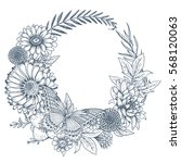 wreath with hand drawn flowers  ... | Shutterstock .eps vector #568120063