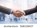 Small photo of investor businessman handshake together on double exposure night city and walking people:agreement,accept,approve financial cooperative concept.accomplish goal:guarantee assurance::experience reliable