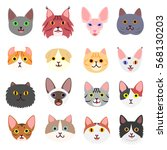 Cute Cats Faces Set