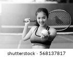 woman in sportswear serves... | Shutterstock . vector #568137817