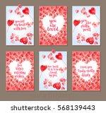 set valentine's day greeting... | Shutterstock .eps vector #568139443