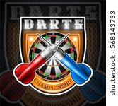 red and blue darts crossed with ... | Shutterstock .eps vector #568143733
