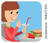 girl with fast food in his... | Shutterstock .eps vector #568157203