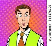 portrait of surprised man....   Shutterstock .eps vector #568176103