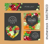 set of vector cards with fresh... | Shutterstock .eps vector #568178023