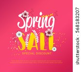 spring sale banner poster with... | Shutterstock .eps vector #568183207