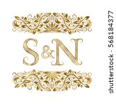 s and n vintage initials logo... | Shutterstock .eps vector #568184377