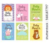 baby shower invitation vector... | Shutterstock .eps vector #568187797