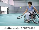 disabled mature woman on... | Shutterstock . vector #568192423