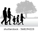 silhouette family on a walk. | Shutterstock .eps vector #568194223