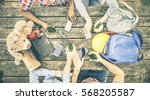 group of friends drinking beer... | Shutterstock . vector #568205587