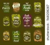 bio organic fresh coffee ... | Shutterstock .eps vector #568208287