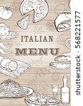italian food set. hand drawn...   Shutterstock .eps vector #568221577