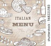 italian food set. hand drawn... | Shutterstock .eps vector #568221583