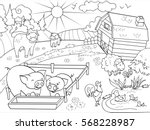 farm animals and rural... | Shutterstock .eps vector #568228987