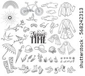 hand drawn spring objects set.... | Shutterstock .eps vector #568242313