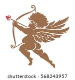 vector cupid silhouette... | Shutterstock .eps vector #568243957
