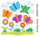Stock vector stylized butterflies theme image eps vector illustration 568257187