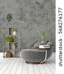 modern bright interior . 3d... | Shutterstock . vector #568276177