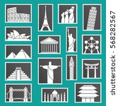 set of monuments stamps vector... | Shutterstock .eps vector #568282567