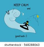card keep calm and good luck... | Shutterstock .eps vector #568288063