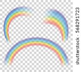 set of transparent rainbows.... | Shutterstock .eps vector #568291723