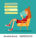 girl with smart phone chatting | Shutterstock .eps vector #568303243