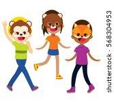 three cute happy kids wearing... | Shutterstock .eps vector #568304953