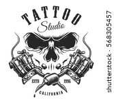 tattoo studio emblem with... | Shutterstock .eps vector #568305457