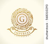 round calligraphic royal gold... | Shutterstock .eps vector #568310293